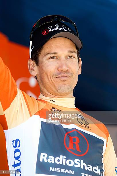 Robbie McEwen from Australia celebrates witht the leader's jersey after stage two of the 2011 Tour Down Under in Mawson Lakes on January 19 2011 Team...