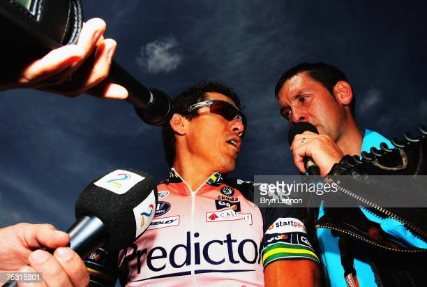 Robbie McEwen of Australia and PredictorLotto team talks to the media at the start of stage 3 of the 2007 Tour de France from Waregem to Compiegne on...