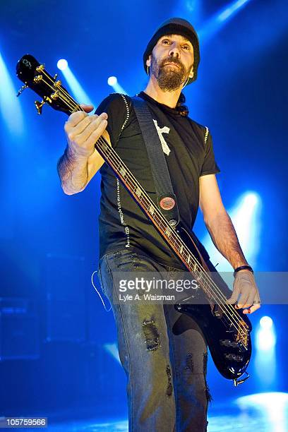 Robbie Merrill of the band Godsmack performs at the Rosemont Theatre on October 15, 2010 in Chicago, Illinois.