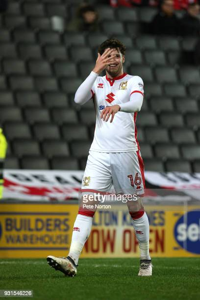 Robbie Muirhead of Milton Keynes Dons celebrates after scoring his sides first goal during the Sky Bet League One match between Milton Keynes Dons...
