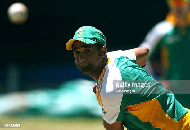 Robbie Peterson of South Africa in action during a South African nets session at Sahara Park Newlands on January 10 2012 in Cape Town South Africa