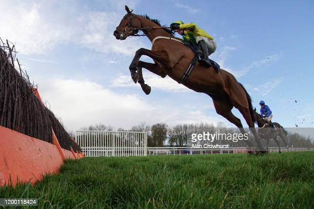 Robbie Power riding Getaway Fred in action during The Barton Hill Old Boys RFC Novices' Hurdle at Chepstow Racecourse on January 17, 2020 in...