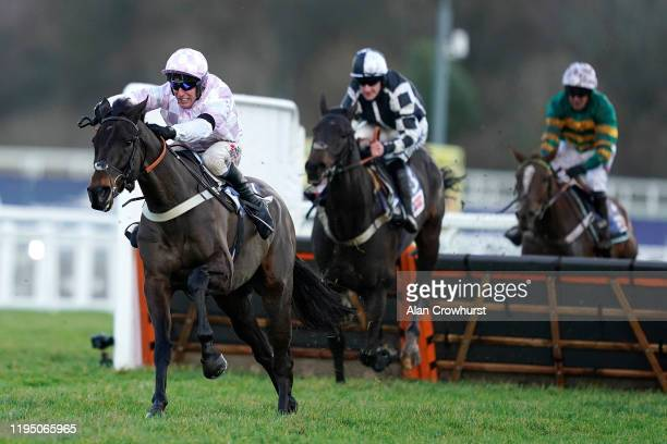 Robbie Power riding Master Debonair clear the last to win The Sky Bet Supreme Trial Novices' Hurdle at Ascot Racecourse on December 20, 2019 in...