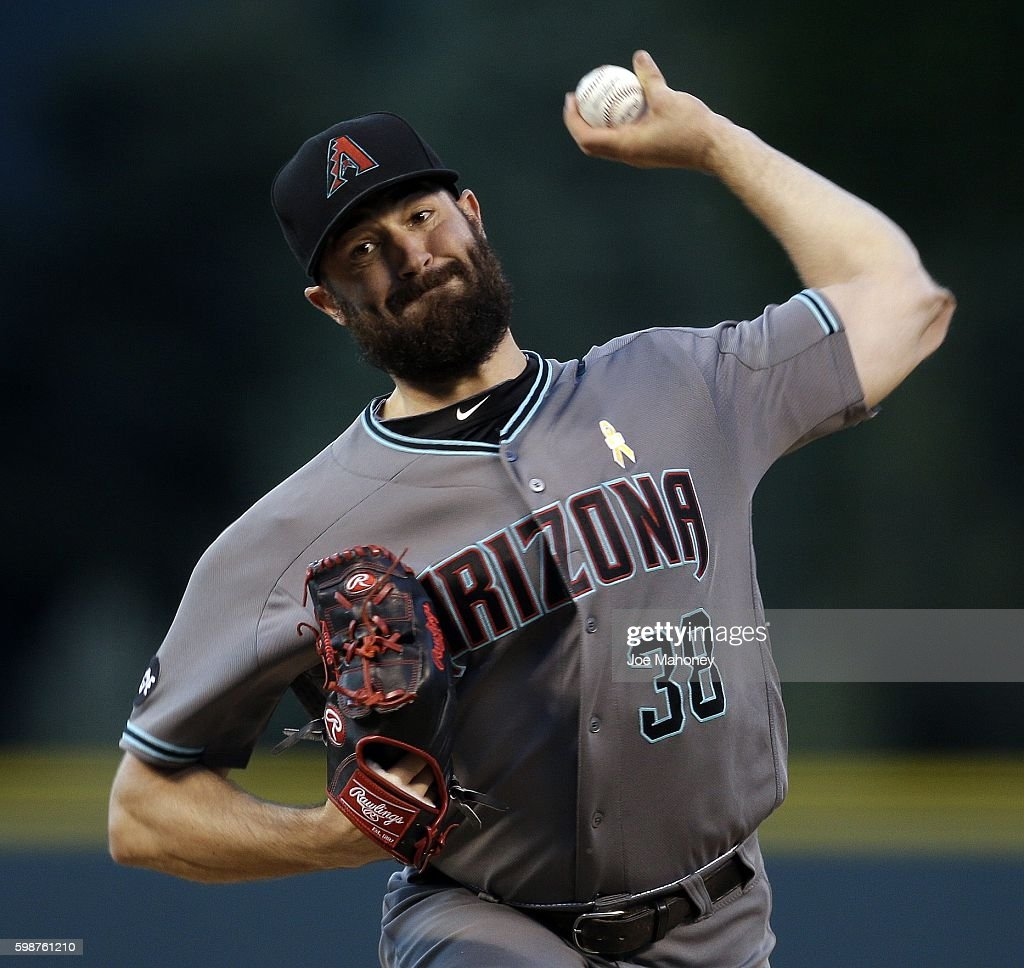 Robbie Ray #38 of the Arizona Diamondbacks pitches against the Colorado Rockies during the first inning of a baseball game at Coors Field on September 2, 2016 in Denver, Colorado.