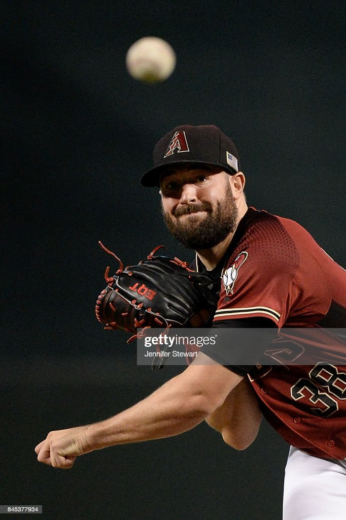 Robbie Ray #38 of the Arizona Diamondbacks throws a warm up pitch in the game against the San Diego Padres at Chase Field on September 10, 2017 in Phoenix, Arizona.