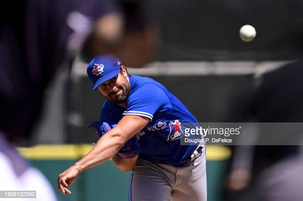 Robbie Ray of the Toronto Blue Jays throws a pitch during the second inning against the Detroit Tigers during a spring training game at Publix Field...