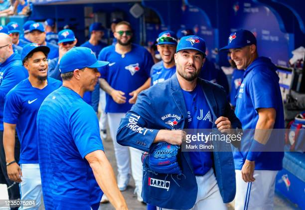 Robbie Ray of the Toronto Blue Jays wears The Blue Jacket after coming out of the game against the Oakland Athletics in the seventh inning during...