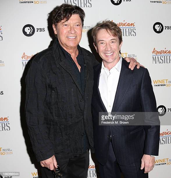 Robbie Robertson and actor Martin Short attend the Premiere Of 'American Masters Inventing David Geffen' at The Writers Guild of America on November...