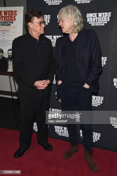 """Robbie Robertson and Bob Geldof attend the New York premiere of """"Once Were Brothers: Robbie Robertson And The Band"""" at Walter Reade Theater on..."""