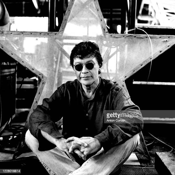Robbie Robertson are photographed during preparations for the first concert for the Rock and Roll Hall of Fame Museum on September 2 1995 in...
