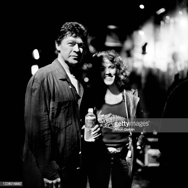 Robbie Robertson Carole King are photographed during preparations for the first concert for the Rock and Roll Hall of Fame Museum on September 2 1995...