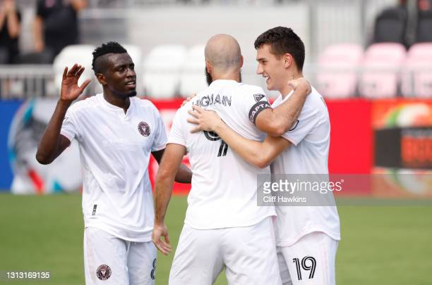 Robbie Robinson of Inter Miami FC celebrates with Gonzalo Higuain after scoring a goal against the Los Angeles Galaxy in the first half at DRV PNK...