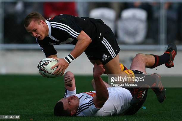 Robbie Robinson of North scores a try during the North v South rugby match at Forsyth Barr Stadium on June 10 2012 in Dunedin New Zealand