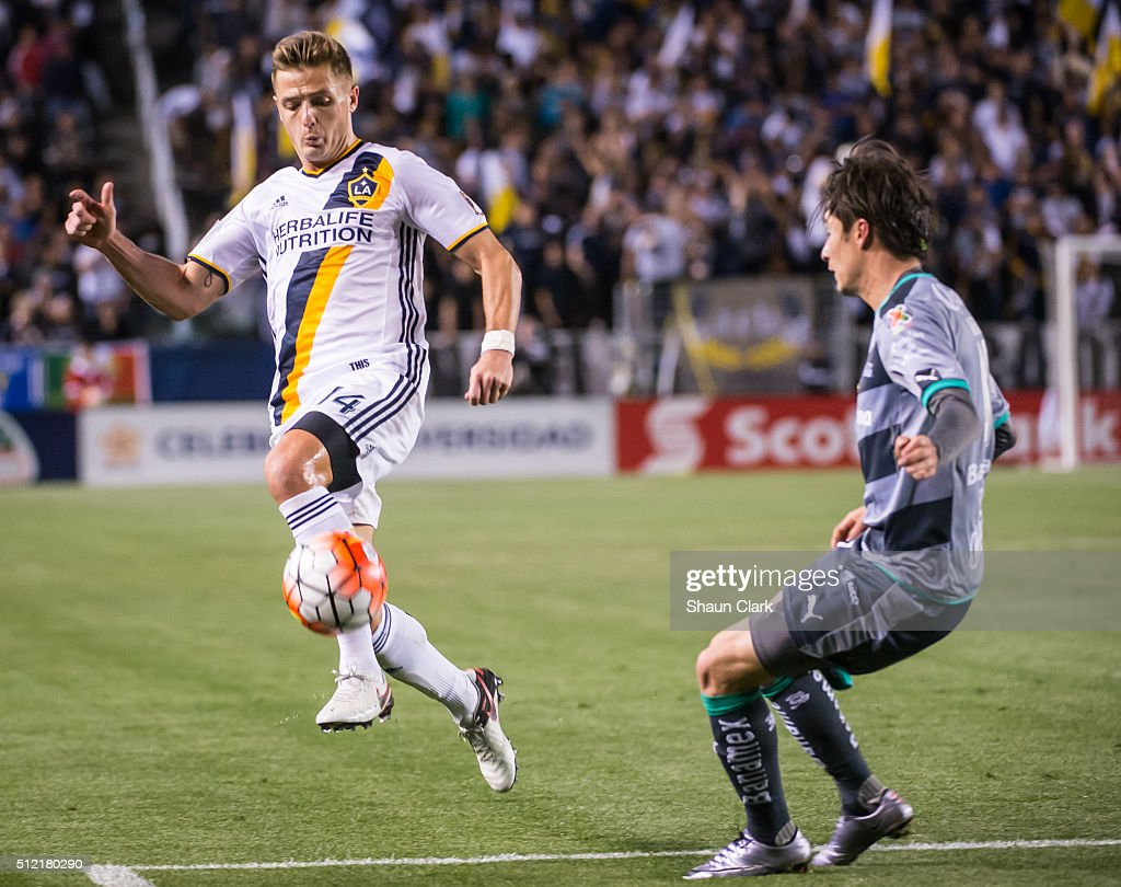 Robbie Rogers #14 of Los Angeles Galaxy during the CONCACAF Champions League match between Santos Laguna and Los Angeles Galaxy at the StubHub Center on February 24, 2016 in Carson, California. The final score was 0-0
