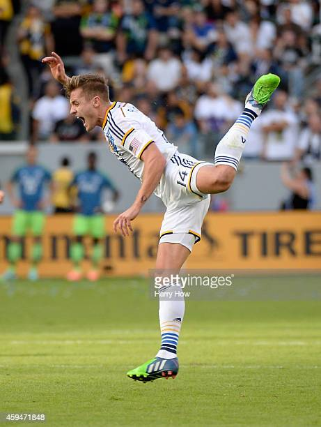 Robbie Rogers of Los Angeles Galaxy react as he is tripped by Micheal Azira of Seattle Sounders FC during the Western Conference Final at StubHub...