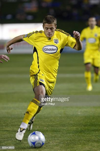 Robbie Rogers of the Columbus Crew dribbles against the Kansas City Wizards during the game at Community America Ballpark on November 1 2008 in...