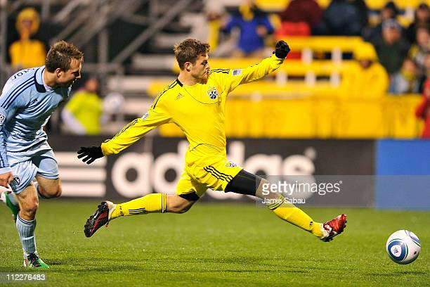 Robbie Rogers of the Columbus Crew leaps to make the kick to score the only goal during a 10 Columbus victory over Sporting Kansas City on April 16...