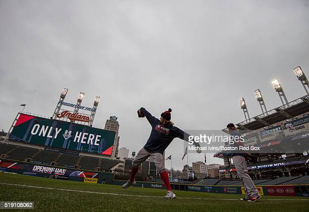 Robbie Ross Jr #28 of the Boston Red Sox warms up before an Opening Day game against the Cleveland Indians at Progressive Field on April 4 2016 in...