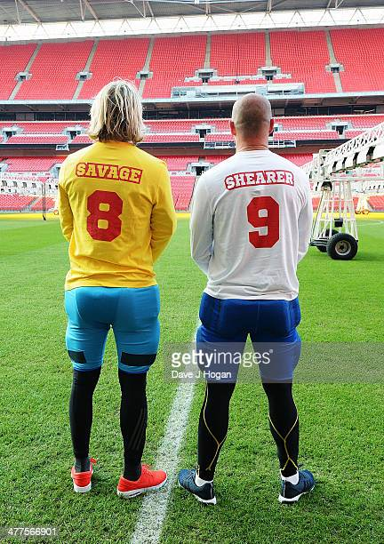 Robbie Savage and Alan Shearer attend 'The Battle of the Backsides' photocall at Wembley Stadium on March 10 2014 in London England Alan Shearer and...