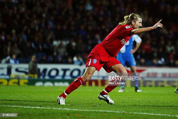 Robbie Savage of Birmingham City celebrates a goal during the Barclays Premiership match between Blackburn Rovers and Birmingham City at Ewood Park...