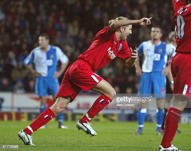 Robbie Savage of Birmingham City celebrates scoring their second goal during the Barclays Premiership match between Blackburn Rovers and Birmingham...