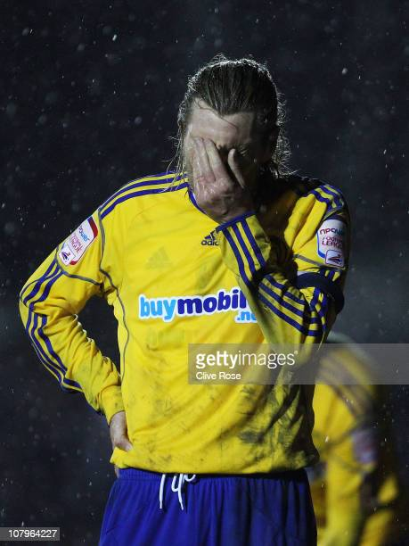 Robbie Savage of Derby County reacts during the FA Cup sponsored by EON 3rd round match between Crawley Town and Derby County at Broadfield Stadium...