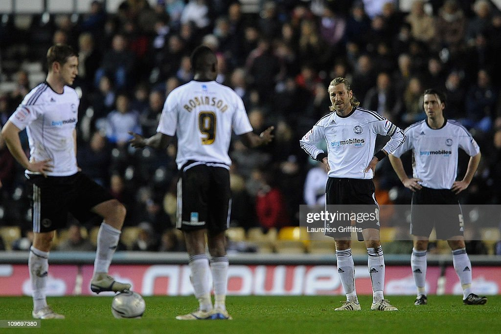 Robbie Savage of Derby County shows his dissapointment after Billy Sharp of Doncaster Rovers scores the opening goal during the npower Championship match between Derby County and Doncaster Rovers at Pride Park on March 1, 2011 in Derby, England.