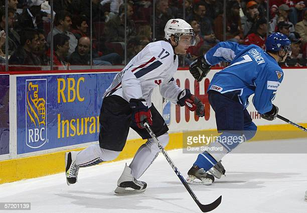 Robbie Schremp of Team USA skates against Team Finland during their World Jr. Hockey Championship bronze medal game at General Motors Place on...
