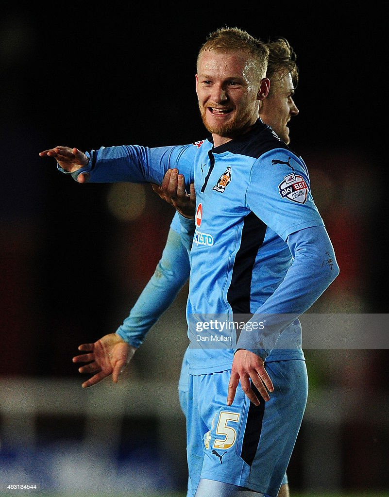 Robbie Simpson of Cambridge United celebrates scoring his side's opening goal during the Sky Bet League Two match between Exeter City and Cambridge United at St. James Park on February 10, 2015 in Exeter, England.