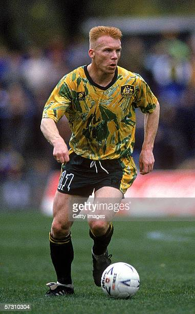 Robbie Slater of the Socceroos in action during the World Cup Qualifying match between Australia and New Zealand held at Olympic Park June 6 1993 in...
