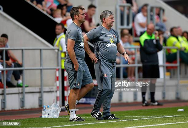 Robbie Stockdale first team coach and Paul Bracewell caretaker manager of Sunderland during the PreSeason Friendly match between Rotherham United and...