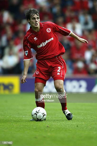 Robbie Stockdale of Middlesbrough on the ball during the FA Barclaycard Premiership match between Middlesbrough and Fulham at the Riverside Stadium...