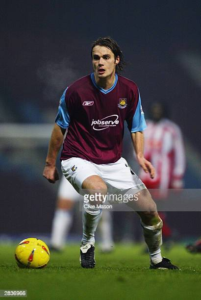 Robbie Stockdale of West Ham United runs with the ball during the Nationwide League Division One match between West Ham United and Stoke City held on...