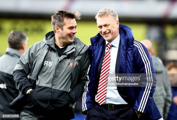 Robbie Stockdale Sunderland first team coach and David Moyes Manager of Sunderland walk off the ptich togther after the Premier League match between...