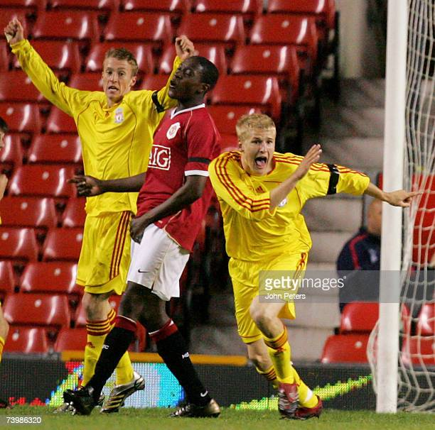 Robbie Threlfall of Liverpool celebrates scoring their first goal during the FA Youth Cup Final second leg match between Manchester United Under-18s...