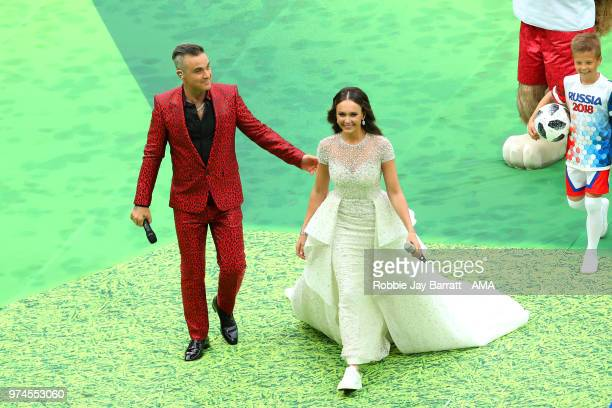 Robbie Wiliams and Aida Garifullina perform at the opening ceremony prior to the 2018 FIFA World Cup Russia group A match between Russia and Saudi...