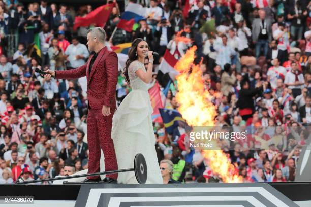 Robbie Wiliams and Aida Garifullina performs during Opening Ceremony of FIFA World Cup 2018 before the group A match between Russia and Saudi Arabia...