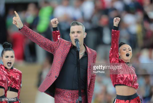Robbie Wiliams perfoms during the Opening ceremony FIFA World Cup 2018 before the group A match between Russia and Saudi Arabia at the 2018 soccer...