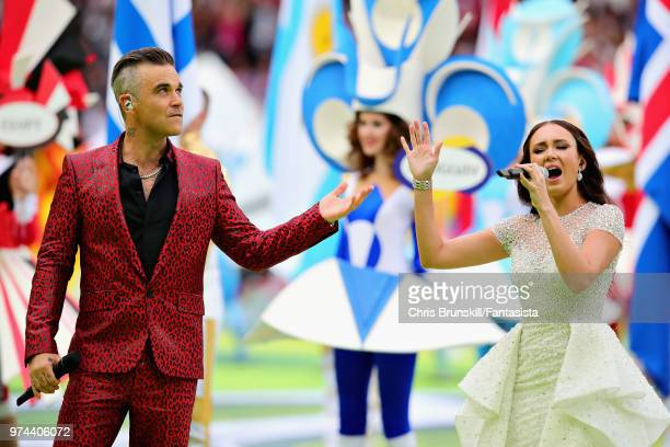 Robbie Williams and Aida Garifullina entertain the crowd at the opening ceremony before the 2018 FIFA World Cup Russia group A match between Russia...