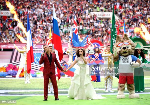 Robbie Williams and Aida Garifullina perform at the opening ceremony of the FIFA World Cup 2018 Group A match at the Luzhniki Stadium Moscow