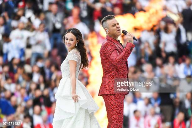 Robbie Williams and Aida Garifullina perform at the opening ceremony perform at the opening ceremony during the 2018 FIFA World Cup Russia group A...