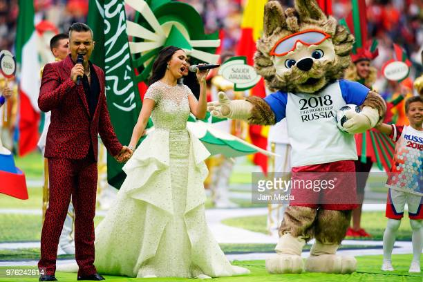 Robbie Williams and Aida Garifullina perform during the 2018 FIFA World Cup Russia Opening Ceremony prior to group A match between Russia and Saudi...