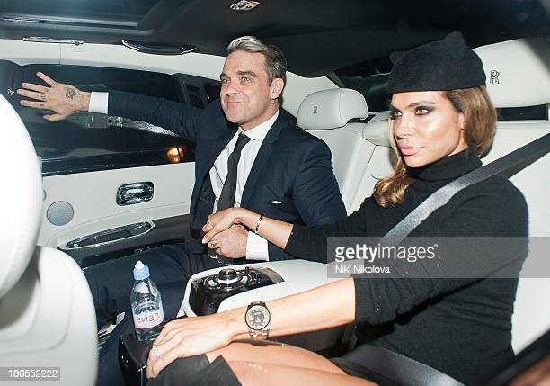 Robbie Williams and Ayda Field are sighted leaving UNICEF Halloween ball held at 1 Mayfair on October 31 2013 in London England