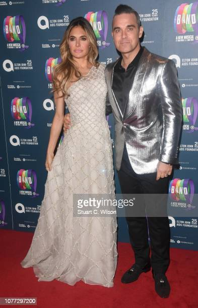 Robbie Williams and Ayda Field attend a charity gala performance of The Band in aid of the Elton John AIDS Foundation at Theatre Royal Haymarket on...