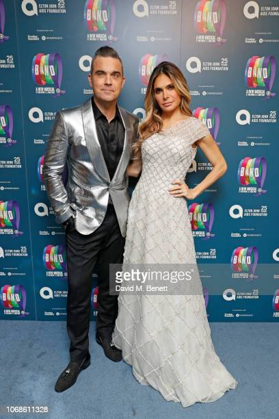 "Robbie Williams and Ayda Field attend the Opening Night Gala of ""The Band"" to benefit the Elton John AIDS Foundation supported by The Evening..."