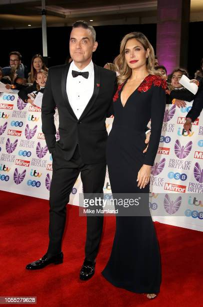 Robbie Williams and Ayda Field attend the Pride of Britain Awards 2018 at The Grosvenor House Hotel on October 29 2018 in London England