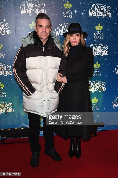 Robbie Williams and Ayda Field attend the VIP Launch of Hyde Park Winter Wonderland on November 21 2018 in London England