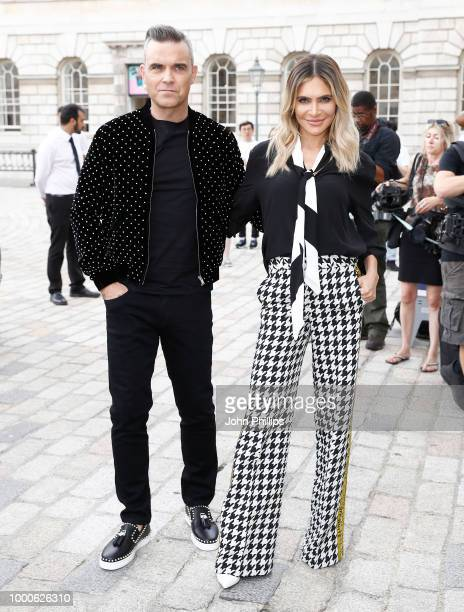 Robbie Williams and Ayda Field attend The X Factor 2018 launch at Somerset House on July 17 2018 in London England