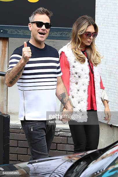 Robbie Williams and Ayda Field seen leaving the ITV Studios after she appeared on Loose Women on June 14 2016 in London England
