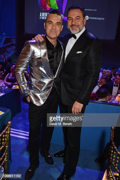 "Robbie Williams and David Walliams attend the Opening Night Gala of ""The Band"" to benefit the Elton John AIDS Foundation supported by The Evening..."